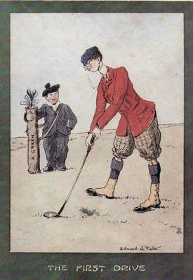 1-Golfing-memorabilia-Edmund-G-Fuller-golf-prints-1903-antique-vintage-coloured-cartoon-humour-golfer-edwardian-the-drive