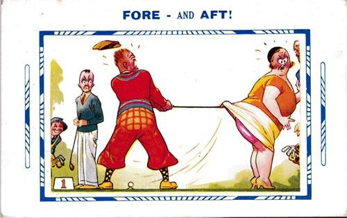 1930s-golf-postcard-fore-and-aft-golfing-humour-husband-and-wife-up-skirt-comic series bamforth cards