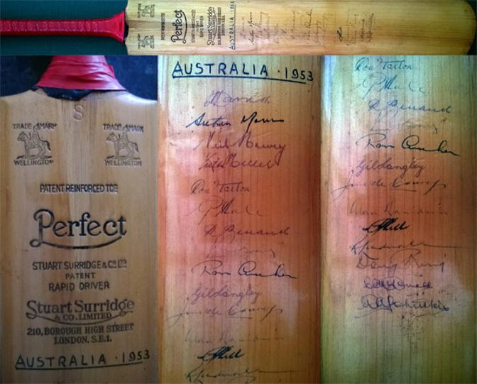 Australia test cricket signed cricket bat memorabilia 1953 ashes tour autograph