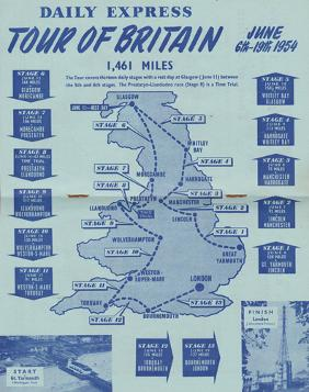 1954-Tour-of-Britain-official-programme-daily-express-june-6th-19th-milk-race-great-yarmouth-london-cycling-memorabilia-cycle-route-Eugene-Tamburlini-winner