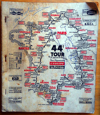 1957-Tour-de-France-memorabilia cycling-memorabilia media-guide-signed-Alex-Virot cycle memorabilia