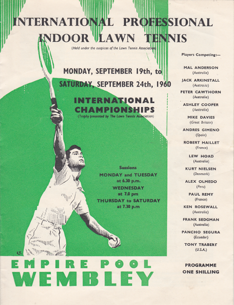 1960 international professional inddor lawn tennis memorabilia empire pool wembley programme hoad trabert olmedo segura sedgman