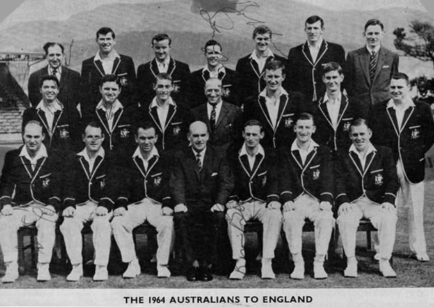 1964 Australian Ashes cricket touring party signed newspaper pic