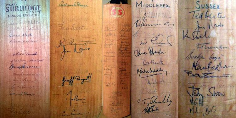 Ken Barrington 'Stuart Surridge' bat signed on front by players from the Ashes series