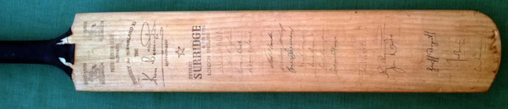 Ken Barrington 'Stuart Surridge' bat signed on front by players from the 1964 Ashes series memorabilia