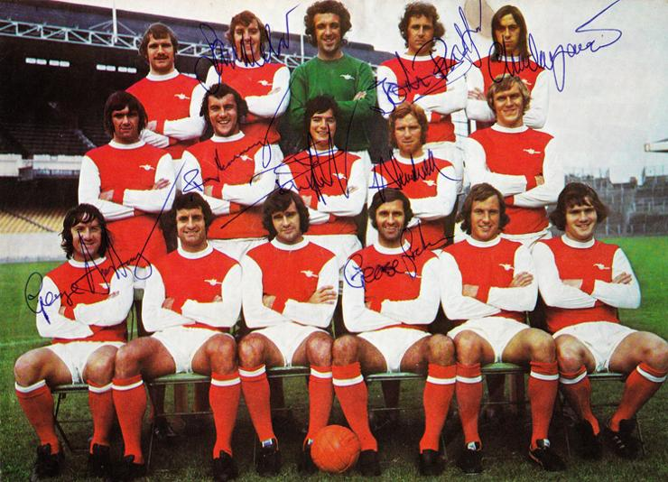 1973-Arsenal-FC-memorabilia-signed-team-photo-Gunners-FA-Cup-Semi-Final-Alan-Ball-autograph-Ray-Kennedy-autograph