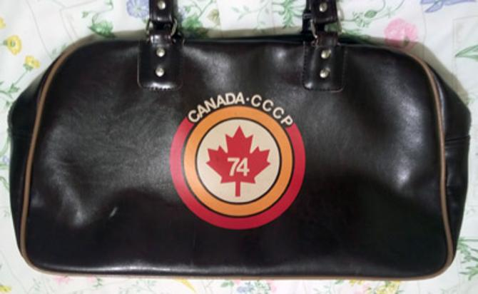 1974-Summit-Series-Canada-CCCP-Soviet-Union-Russia-USSR-Ice-Hockey-International-NHL-WHA-brown-holdall-carry-kit-bag-74-maple-leaf-logo-1972