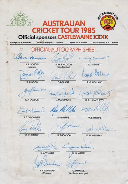 1985-Australia-cricket-memorabilia-signed-team-sheet-ashes-tour-castlemaine-xxxx-squad-autographs
