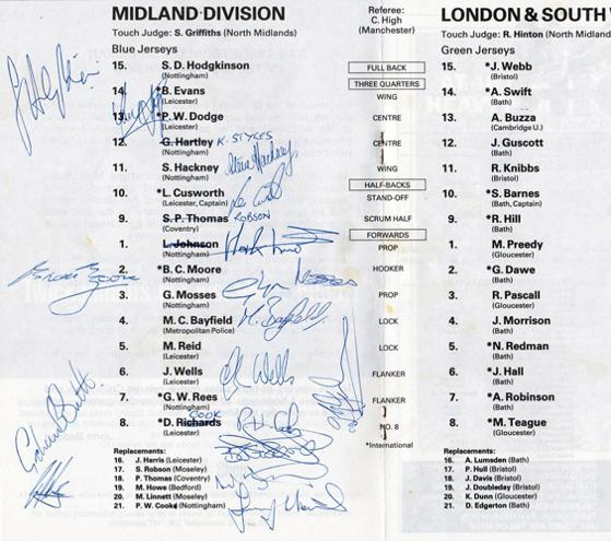 1988-Midlands-Rugby-Union-Football-memorabilia-signed-programme-Les-Cusworth-Martin-Bayfield-Brian-Moore-Paul-Dodge-RFU-County-Divisional-Champs