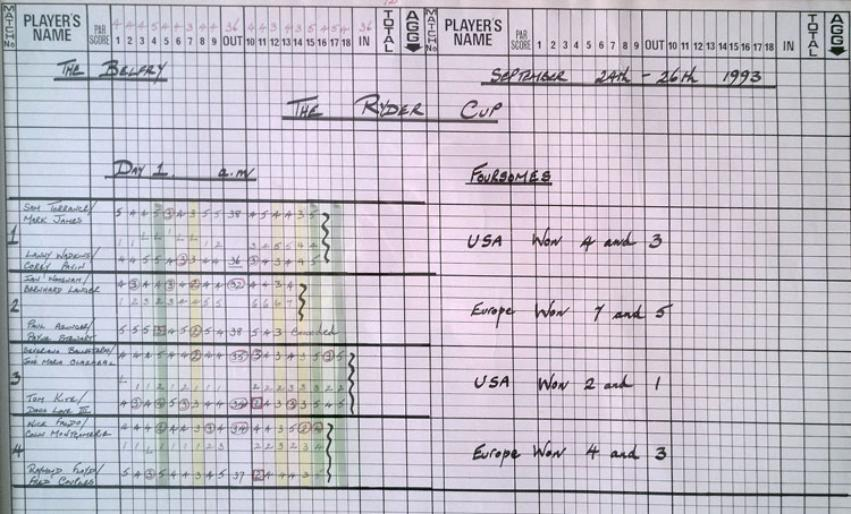 1993 Ryder Cup Golf Official BBC Scorecards Framed signed Peter Alliss Alex Hay Bruce Crictchley Dave Marr Day 1 Morning