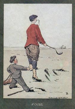 2-Golfing-memorabilia-Edmund-G-Fuller-golf-prints-1903-antique-vintage-coloured-cartoon-humour-golfer-edwardian-Fore