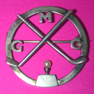 Golf-memorabilia-MGC-golf-brooch-pearl-moortown-golf-club-jewellery-jewel-golf-bling-golfing-memorabilia-gold-crossed-clubs-tee