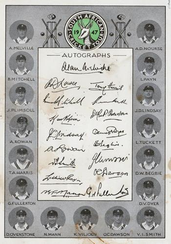 South-Africa-cricket-memorabilia-South-Africa-autograph-signed-team-sheet-1947-tour-of-England-test-match-Alan-Melville-Nourse-Mitchell-Payn-Plimsoll-Rowan-Tuckett