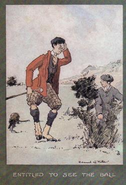 3-Golfing-memorabilia-Edmund-G-Fuller-golf-prints-1903-antique-vintage-coloured-cartoon-humour-golfer-edwardian-entitled-to-see-the-ball