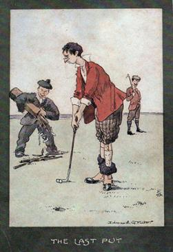 5-Golfing-memorabilia-Edmund-G-Fuller-golf-prints-1903-antique-vintage-coloured-cartoon-humour-golfer-edwardian-the-last-putt