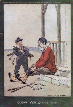 6-Golfing-memorabilia-Edmund-G-Fuller-golf-prints-1903-antique-vintage-coloured-cartoon-humour-golfer-edwardian-clean-yer-clubs-sir