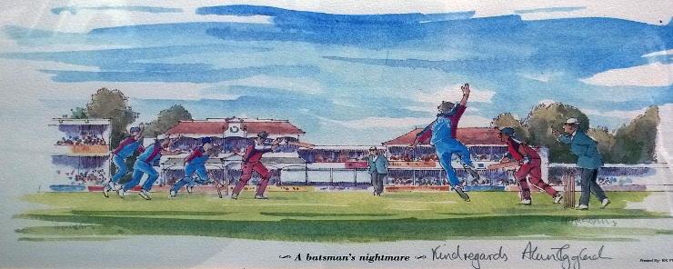 ALAN IGGLESDEN signed Hugh Cushing framed print Kent cricket Canterbury St Lawrence Ground Batsmans Nightmare memorabilia