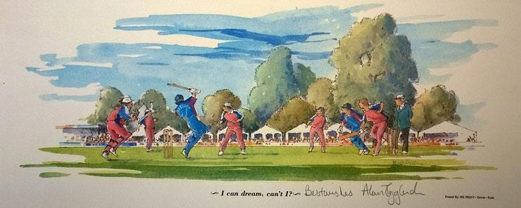 ALAN IGGLESDEN signed Hugh Cushing framed print Kent cricket Canterbury St Lawrence Ground memorabilia 740