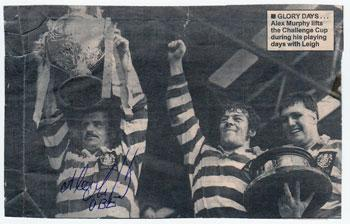 ALEX MURPHY memorabilia (St Helens, Leigh, Warrington &  Great Britain) Signed Leigh Challenge Cup Winners pic.  Murphy was named Lance Todd Trophy winner. rugby league memorabilia