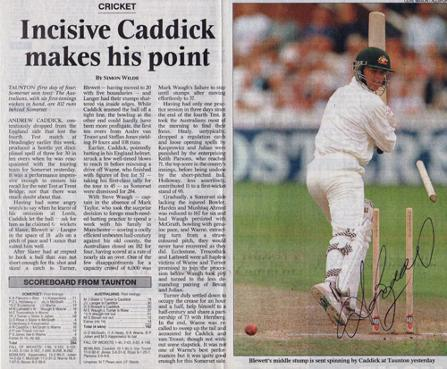 ANDY-CADDICK-autograph-signed-Somerset-cricket-memorabilia-England-Test-match-fast-bowler-ccc-australia-ashes-taunton-bowled-blewett