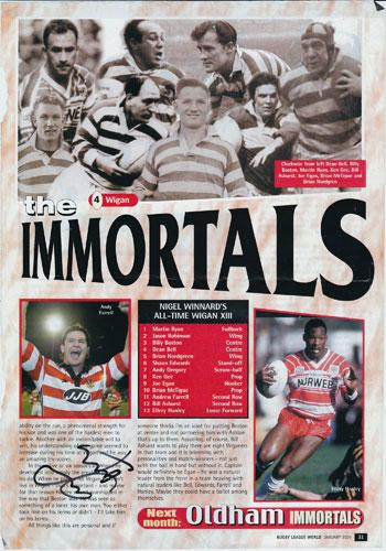 ANDY FARRELL signed Rugby League magazine article Wigan RLFC Immortals Legends rugby memorabilia