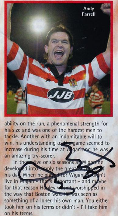 Andy Farrell autograph Wigan Warriors memorabilia rugby league