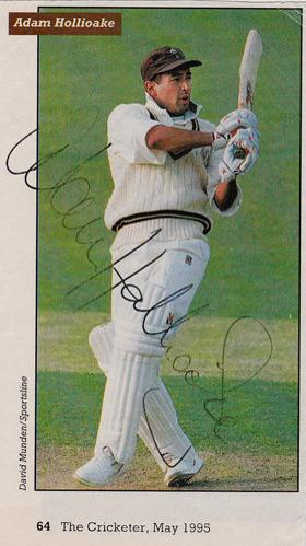 Adam-Hollioake-autograph-signed-Surrey-CCC-Cricket-memorabilia-1995-Cricketer-magazine-pic