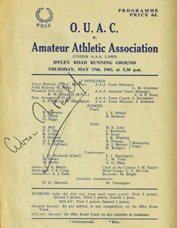 ADRIAN METCALFE (Silver Medallist 4x400m relay 1964 Tokyo Olympics, ITV Athletics commentator, Head of Sport at Channel 4 and Eurosport) Signed 1962 OUAC University v AAA Athletics meeting  race card Iffley Road, Oxford