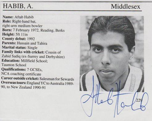 Aftab-Habib-autograph-signed-Middlesex-cricket-memorabilia-Middx-CCC-county-batsman-playfair-whos-who-biography-bio