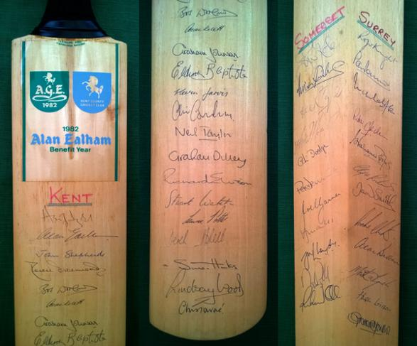 alan ealham signed benefit cricket bat kent cricket memorabilia flying pig kccc autograph