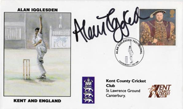 Alan-Igglesden-autograph-signed-first-day-cover-Kent-cricket-memorabilia-KCCC-Brain-Tumour-UK-Westerham-Iggy-Golf-Day-Spitfires-England-Test-Charity-fdc