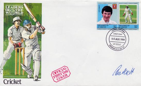Alan-Knott-autograph-signed-Kent-cricket-memorabilia-1984 FDC-First-Day-Cover-Stamps-Spitfires-KCCC-England-test-match-wicketkeeper