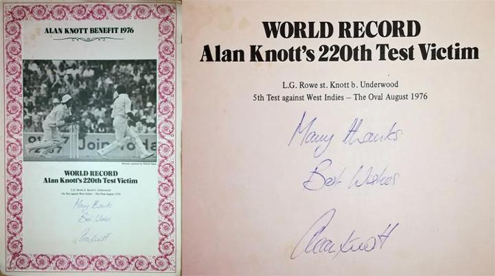 Alan-Knott-autograph-signed-kent-cricket-memorabilia-england-test-match-wicket-keeper-world-record-220-dismissals-catches-certificate-benefit-1976