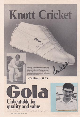 Alan-Knott-autograph-signed-kent-cricket-memorabilia-gola-boots-advert-england-wicket-keeper-legend-knotty-signature
