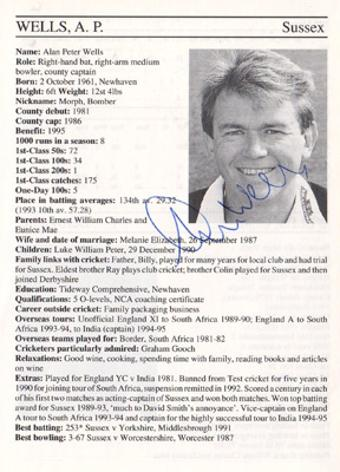 Alan-Wells-autograph-signed-Sussex-cricket-memorabilia-signature-england-batsman-1995-county-cricketers-whos-who