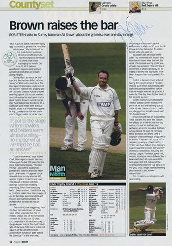 Alastair-Brown-autograph-signed-Surrey-CCC-Cricket-memorabilia-man-of-match-mag-article-Wisden-Monthly-350