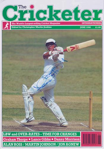 Alec-Stewart-autograph-signed-Surrey-CCC-Cricket-memorabilia-England-test-match-The-Cricketer-magazine-cover-june-1990-Lions-Brown-caps-wicket-keeper
