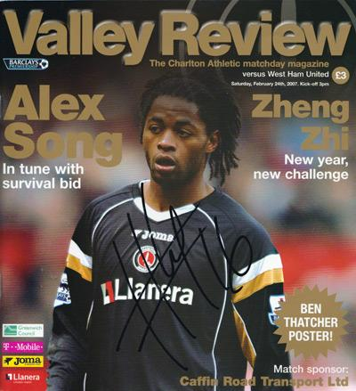 Alex-Song-autograph-signed-Charlton-Athletic-football-memorabilia-Feb-2007-match-day-programme-v-west-ham-united-the-valley-review-arsenal-cafc-france-signature