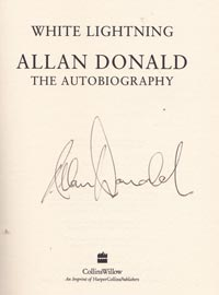 Allan-Donald-autograph-signed-white-lightning-autobiography-book-south-africa-cricket-memorabilia-warks-ccc-1999-first-edition-hardback