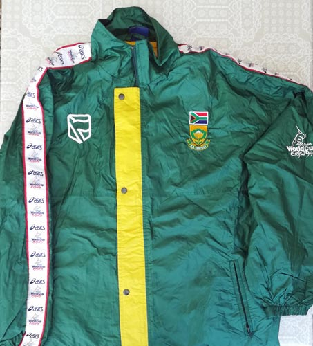 Allan-Donald-signed-Warwickshire-cricket-memorabilia-south-africa-1999-world-cup-track-suit-training-warm-up-white-lightning-fast-bowler-proteas-coach
