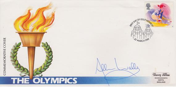 Allan Wells autograph Olympic Games memorabilia commeorative First day cover FDC 1988 Athletics autograph 100 metres flame