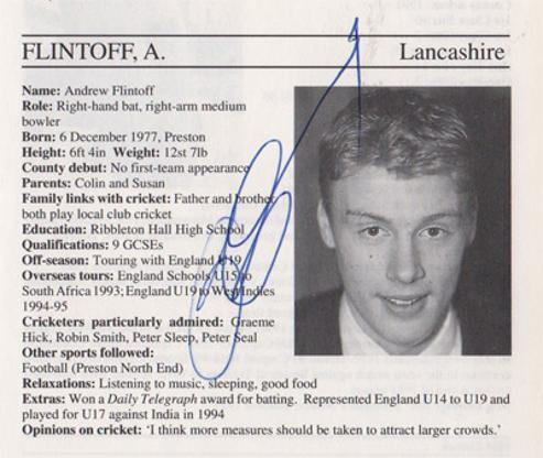 Andrew-Flintoff-autograph-signed-lancashire-cricket-memorabilia-signature-england-all-rounder-1995-lancs-ccc-county-cricketers-whos-who-freddy-andy-ashes-2005