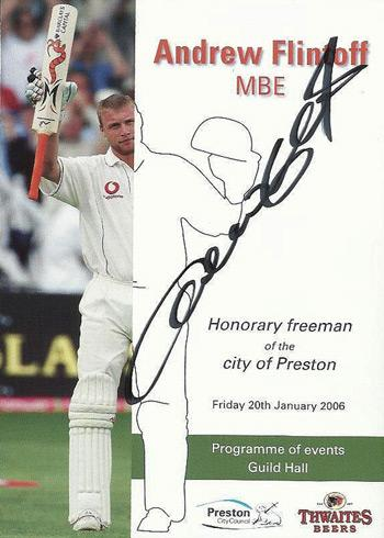 andrew flintoff signed lanacs ccc cricket memorabilia freedom of preston brochure memorabilia