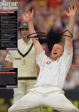 Andrew Freddie Flintoff signed England cricket poster Ian Botham