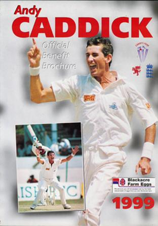 Andy-Caddick-autograph-signed-Somerset-Cricket-memorabilia-1999-benefit-brochure-sccc-testimonial-england-test-match-fast-bowler-cadlee-new-zealand-signature