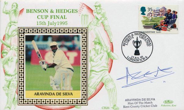 Aravinda-da-Silva-memorabilia-Aravinda-da-silva-autograph-signed-Kent-cricket-memorabilia-Sri-Lanka-cricket-memorabilia-1995-Benson-and-Hedges-Cup-Final-FDC-Man-of-Match