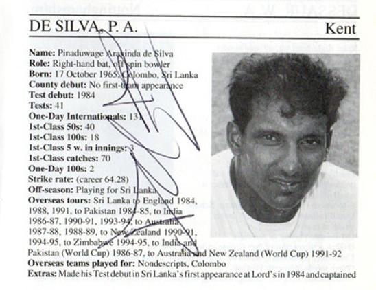 Aravinda-de-silva-autograph-signed-kent-cricket-memorabilia-signature-captain-sri-lanka-batsman-1995-county-cricketers-whos-who