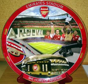 Arsenal Emirates Danbury Mint gold rimmed commemorative plate