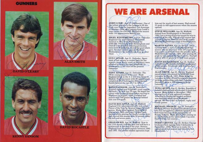 Arsenal-FC-football-memorabilia-signed-1988-FA-Cup-programme-Lukic-Rix-Adams-Sansom-Smith-Hayes-Rocastle-Caesar-Quinn-Thomas-Groves-AFC-Gunners