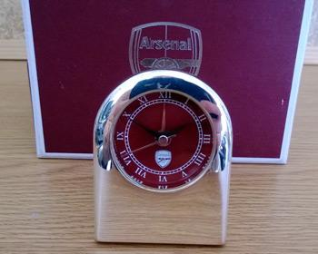 Arsenal chrome travel clock and box.